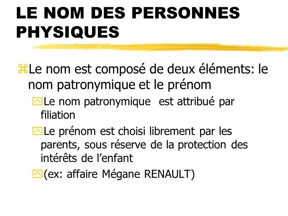 LE NOM DES PERSONNES PHYSIQUES