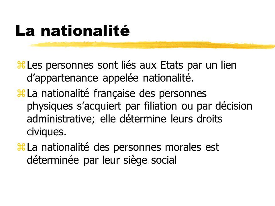 La nationalité Les personnes sont liés aux Etats par un lien d'appartenance appelée nationalité.