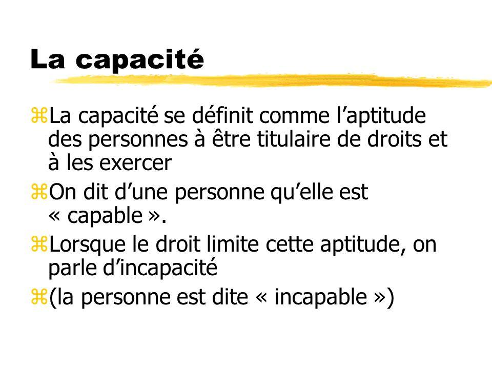 La capacité La capacité se définit comme l'aptitude des personnes à être titulaire de droits et à les exercer.