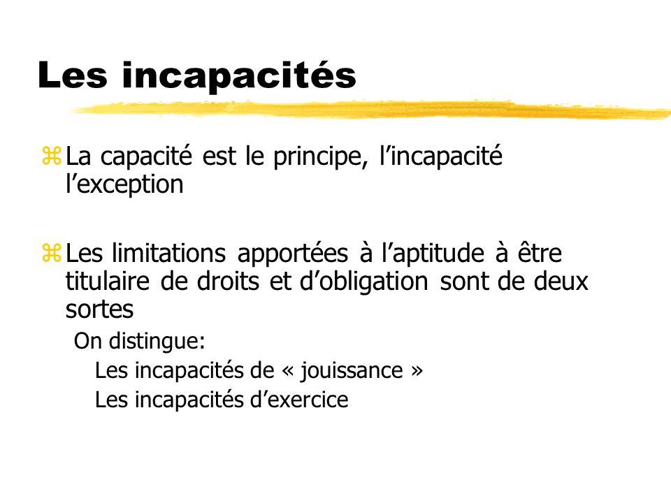 Les incapacités La capacité est le principe, l'incapacité l'exception