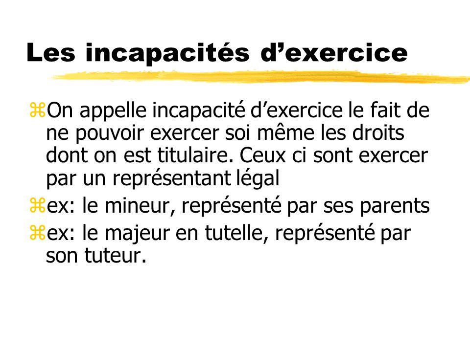 Les incapacités d'exercice