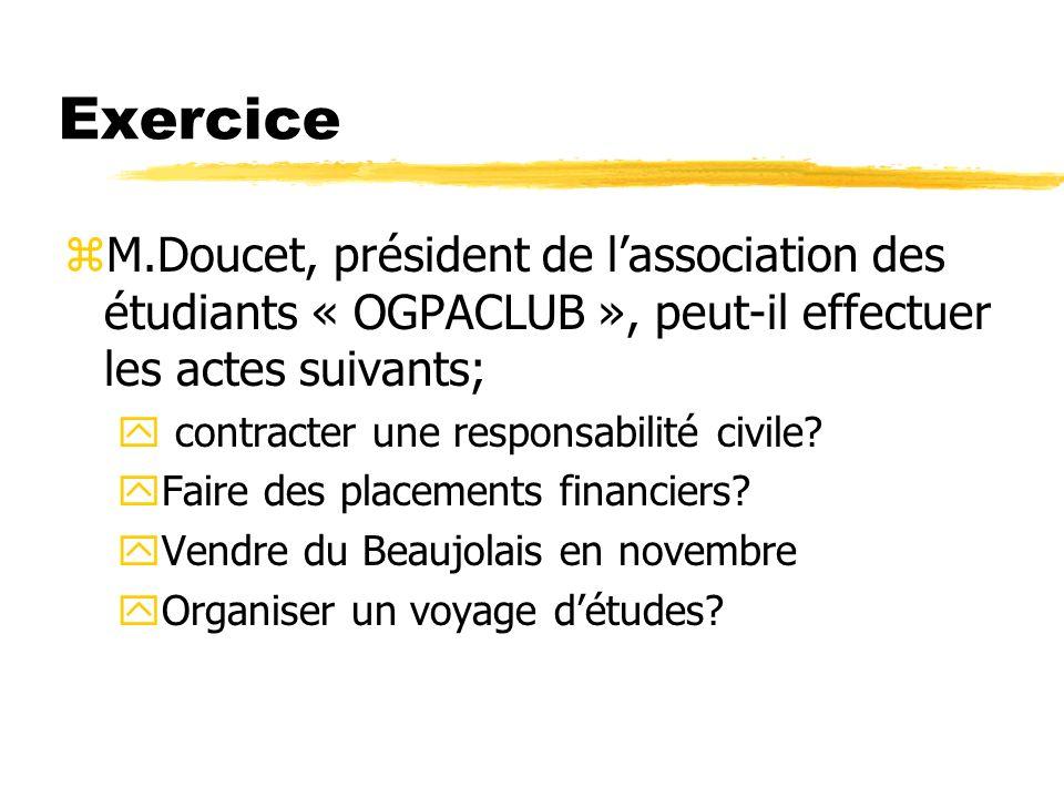 Exercice M.Doucet, président de l'association des étudiants « OGPACLUB », peut-il effectuer les actes suivants;
