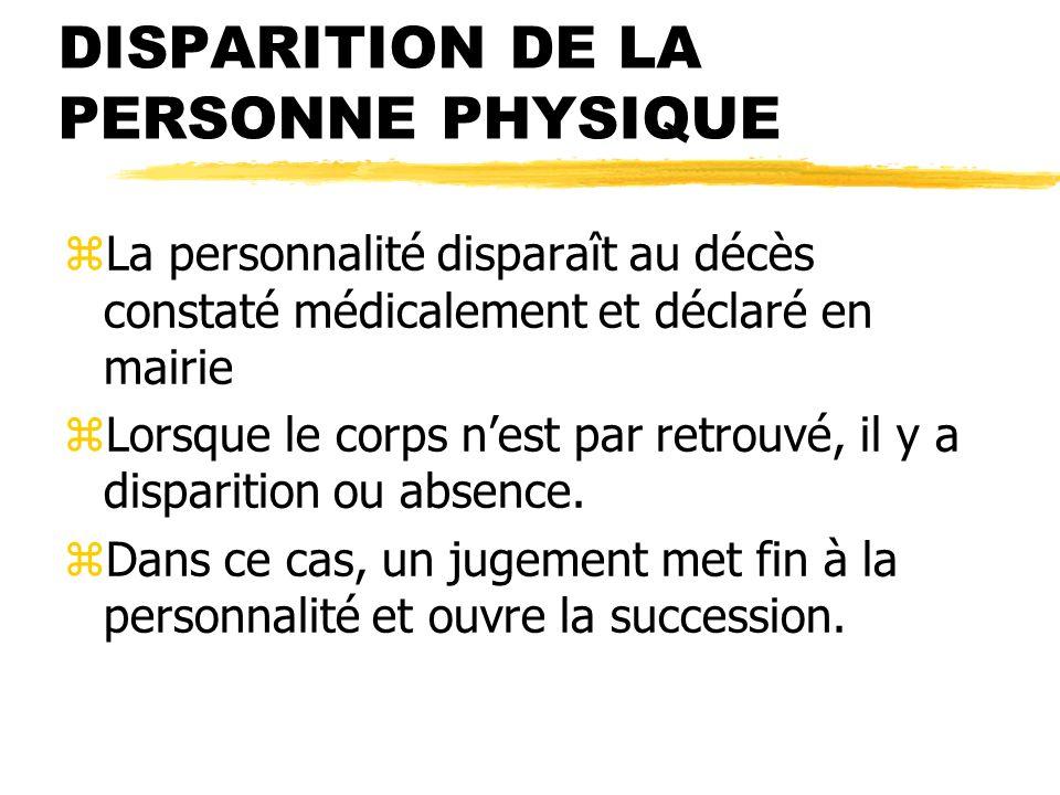 DISPARITION DE LA PERSONNE PHYSIQUE