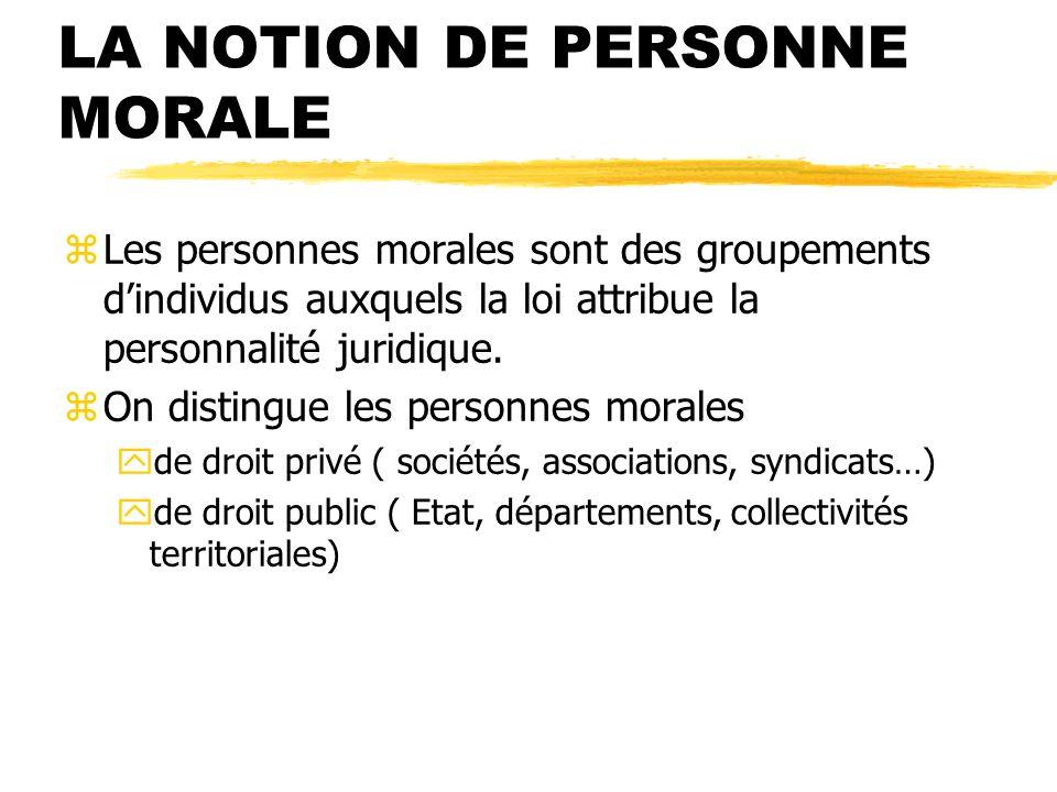 LA NOTION DE PERSONNE MORALE