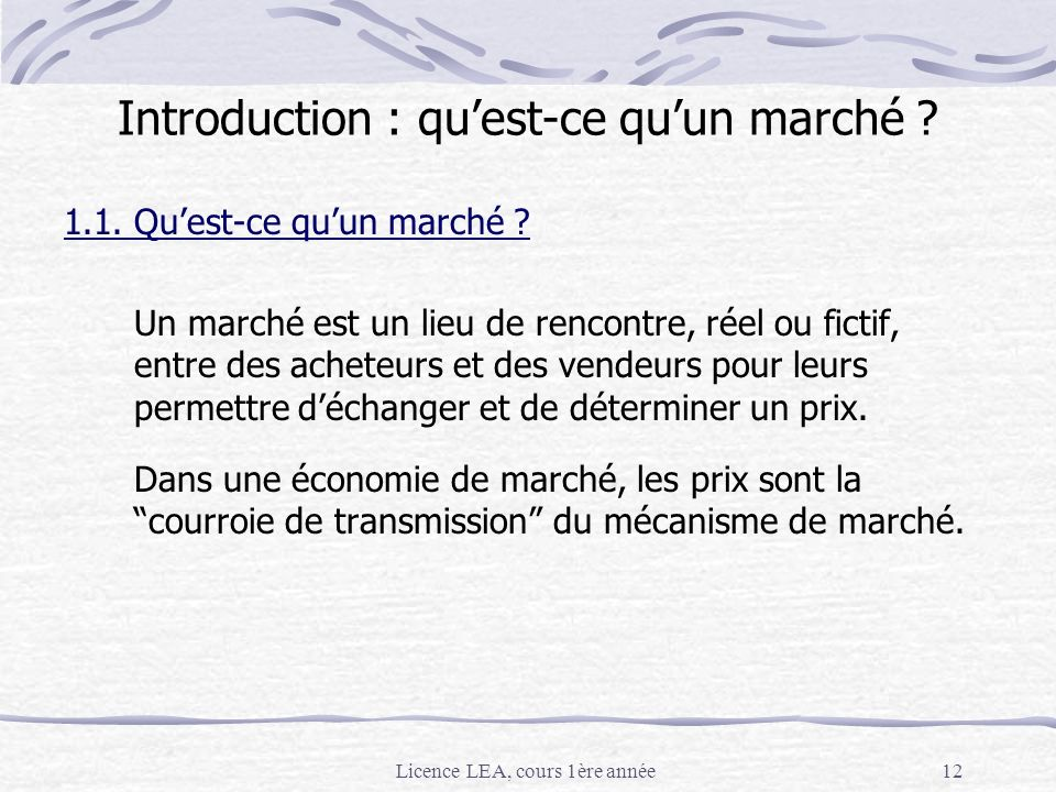 Introduction : qu'est-ce qu'un marché