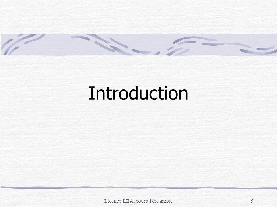 Licence LEA, cours 1ère année
