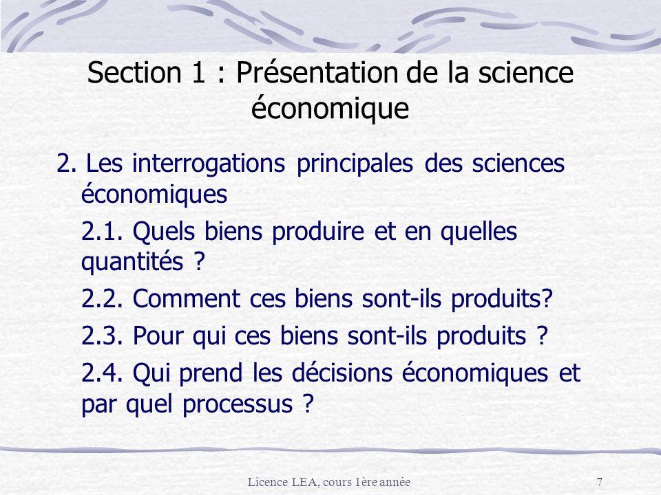 Section 1 : Présentation de la science économique