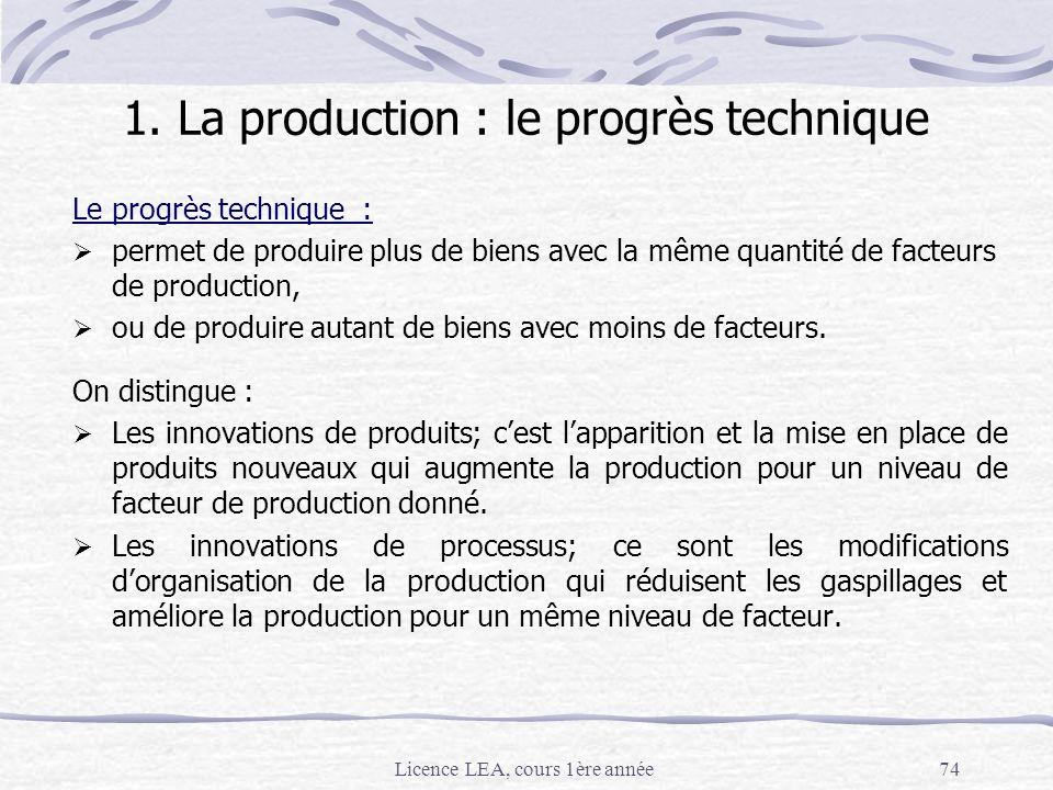 1. La production : le progrès technique