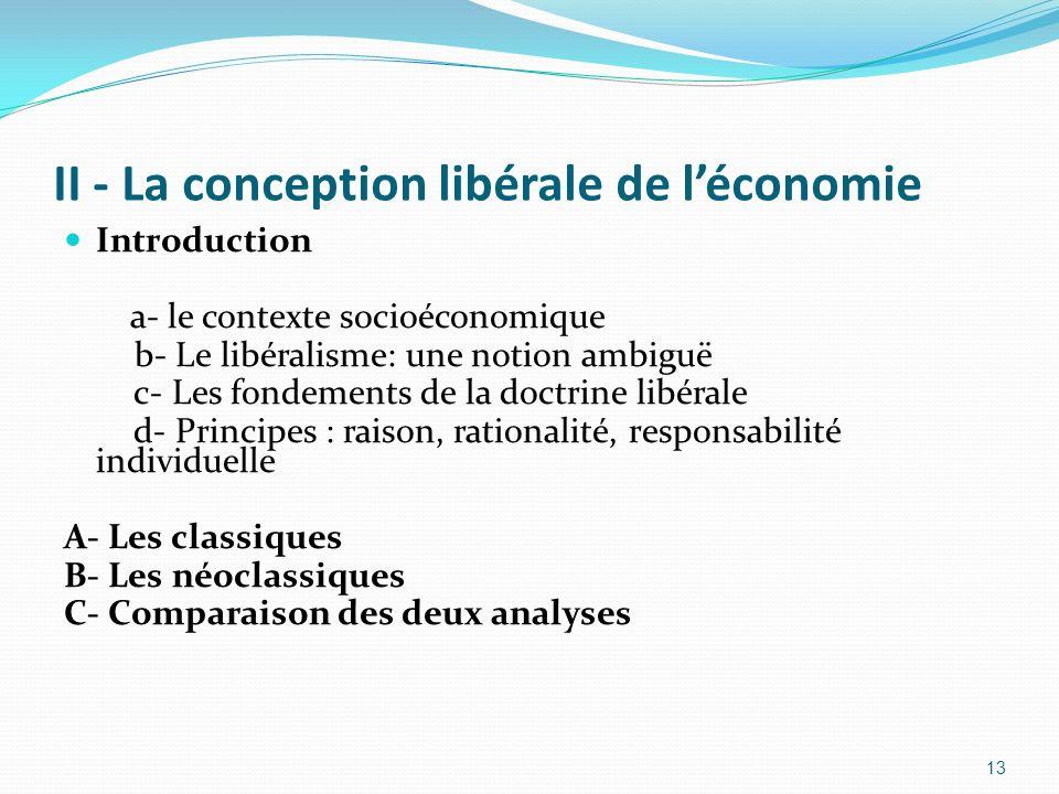 II - La conception libérale de l'économie
