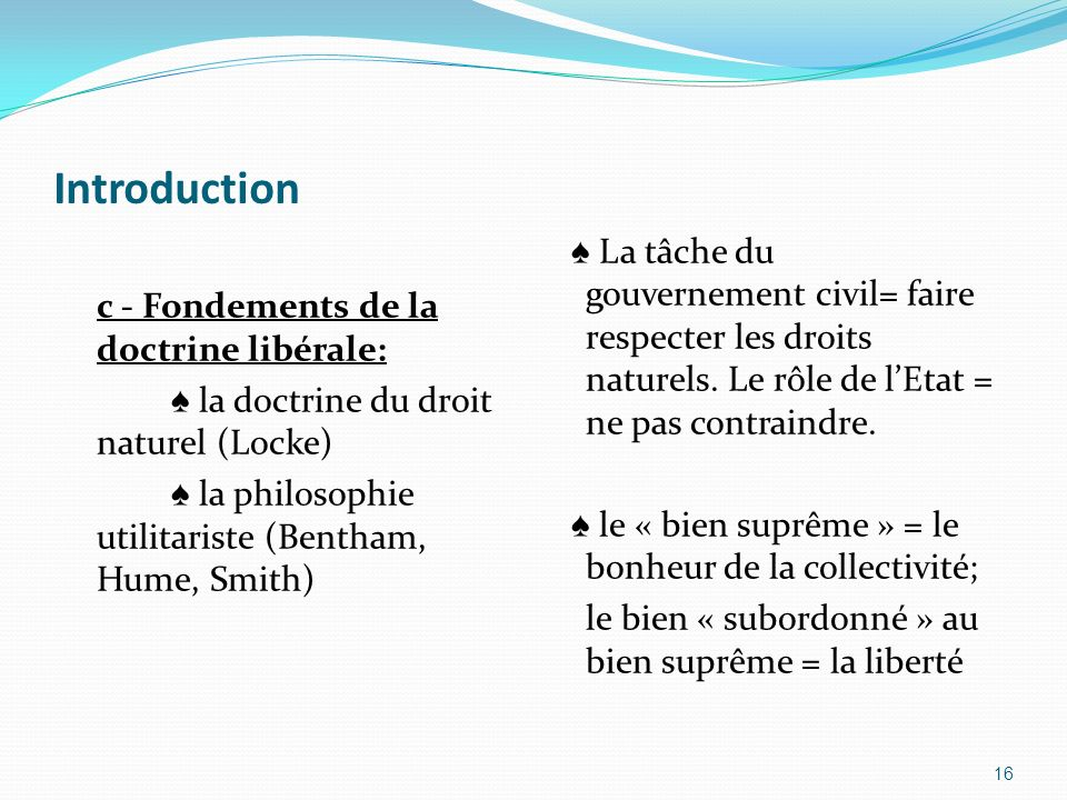 Introduction c - Fondements de la doctrine libérale: ♠ la doctrine du droit naturel (Locke) ♠ la philosophie utilitariste (Bentham, Hume, Smith)