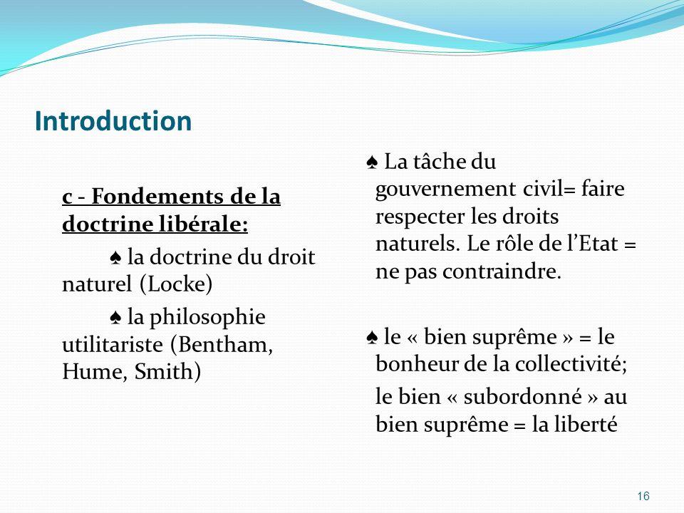 Introductionc - Fondements de la doctrine libérale: ♠ la doctrine du droit naturel (Locke) ♠ la philosophie utilitariste (Bentham, Hume, Smith)
