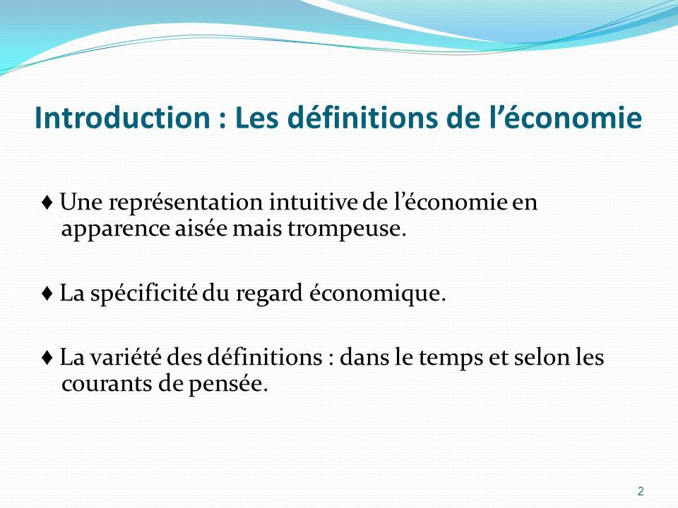 Introduction : Les définitions de l'économie