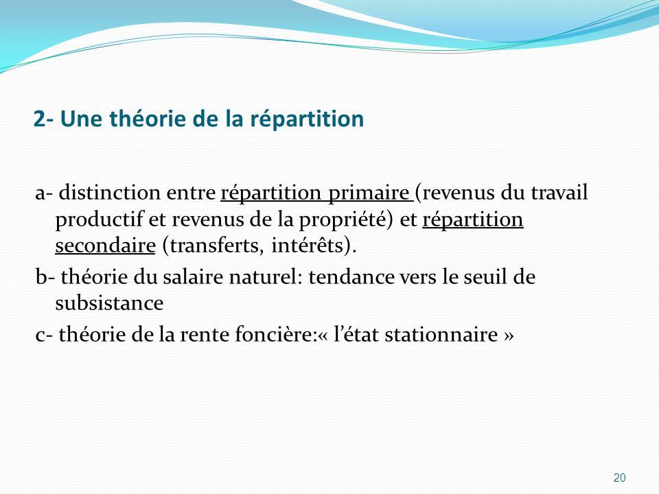 2- Une théorie de la répartition