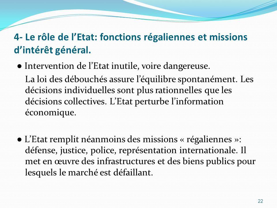 4- Le rôle de l'Etat: fonctions régaliennes et missions d'intérêt général.