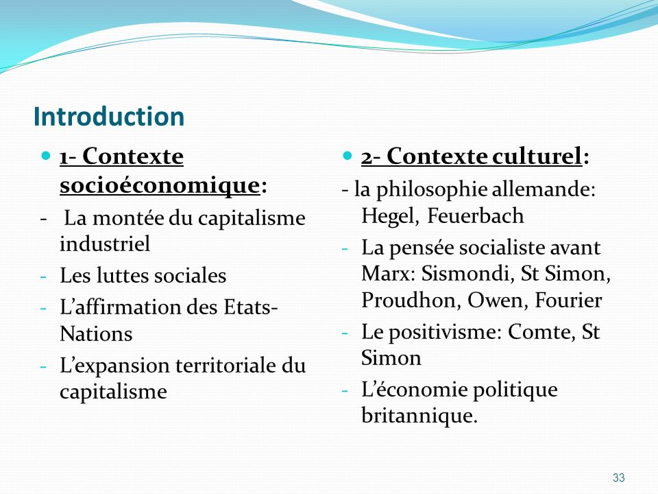 Introduction 1- Contexte socioéconomique: 2- Contexte culturel: