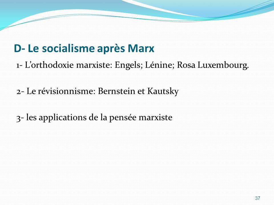 D- Le socialisme après Marx