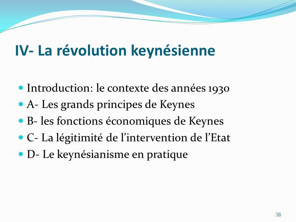 IV- La révolution keynésienne