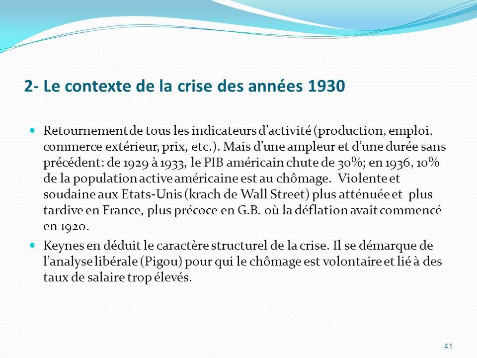 2- Le contexte de la crise des années 1930
