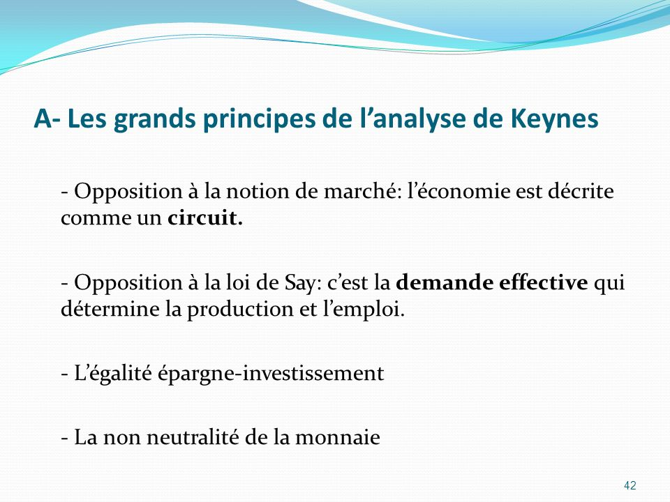 A- Les grands principes de l'analyse de Keynes