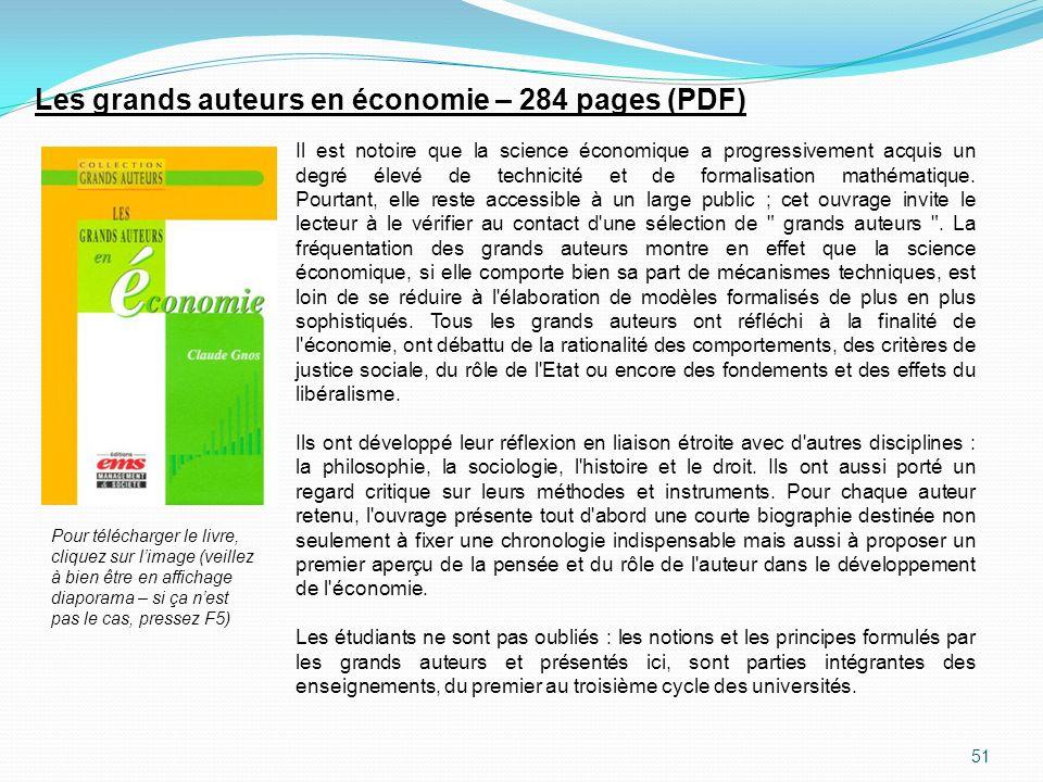 Les grands auteurs en économie – 284 pages (PDF)