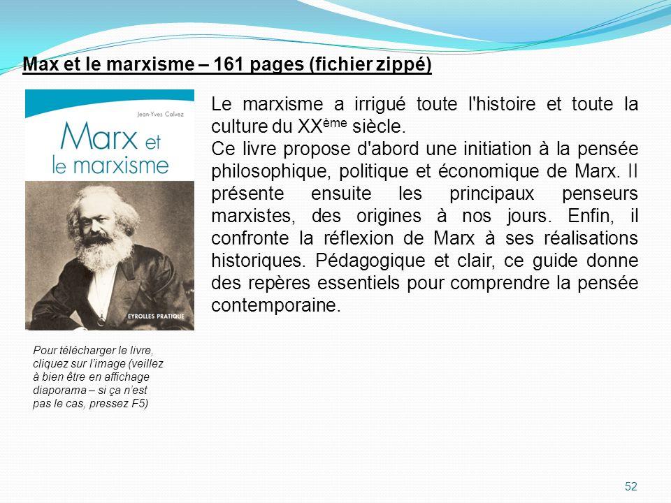 Max et le marxisme – 161 pages (fichier zippé)