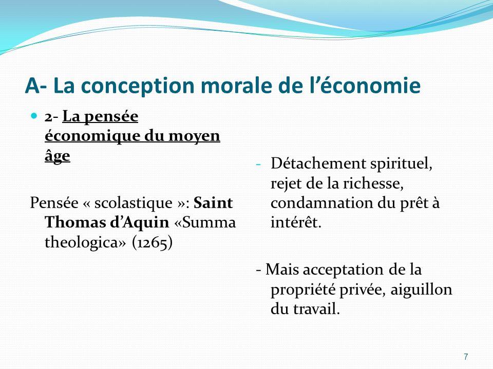 A- La conception morale de l'économie
