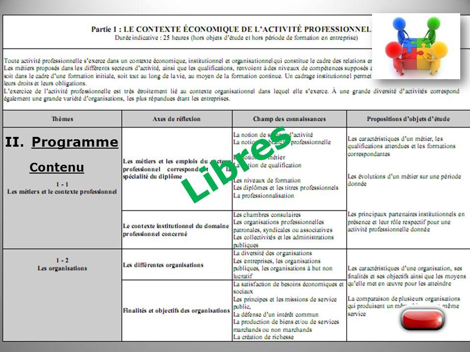 Libres Programme Contenu