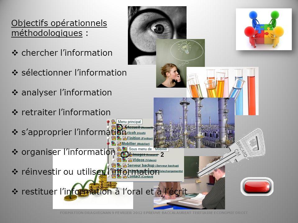 Objectifs opérationnels méthodologiques : chercher l'information