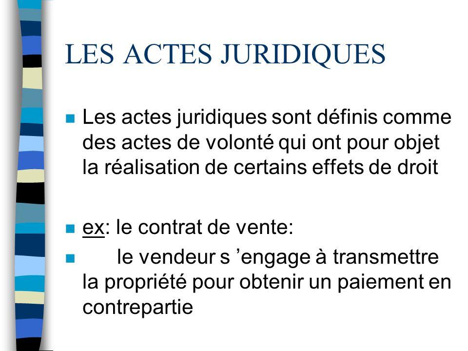 LES ACTES JURIDIQUES Les actes juridiques sont définis comme des actes de volonté qui ont pour objet la réalisation de certains effets de droit.