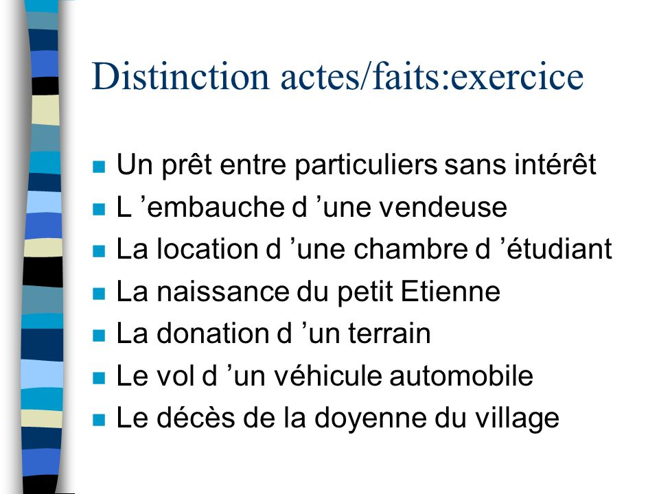 Distinction actes/faits:exercice