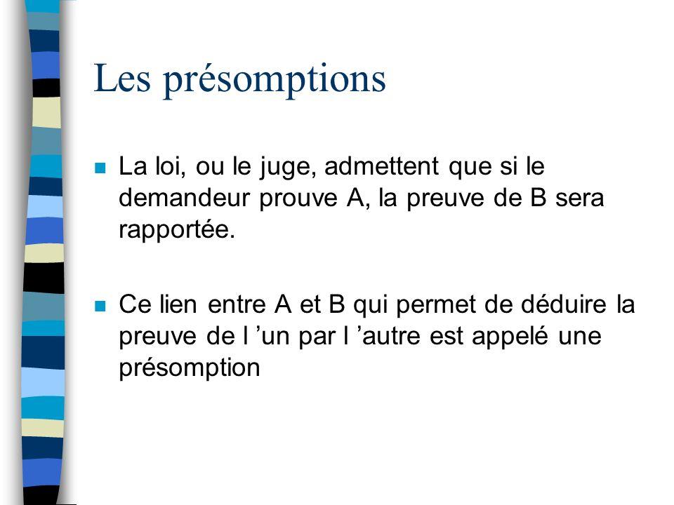 Les présomptions La loi, ou le juge, admettent que si le demandeur prouve A, la preuve de B sera rapportée.