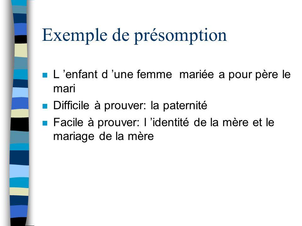 Exemple de présomption