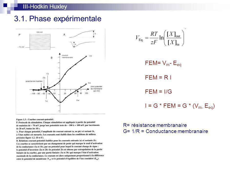 3.1. Phase expérimentale III-Hodkin Huxley FEM= Vm- Eeq FEM = R I