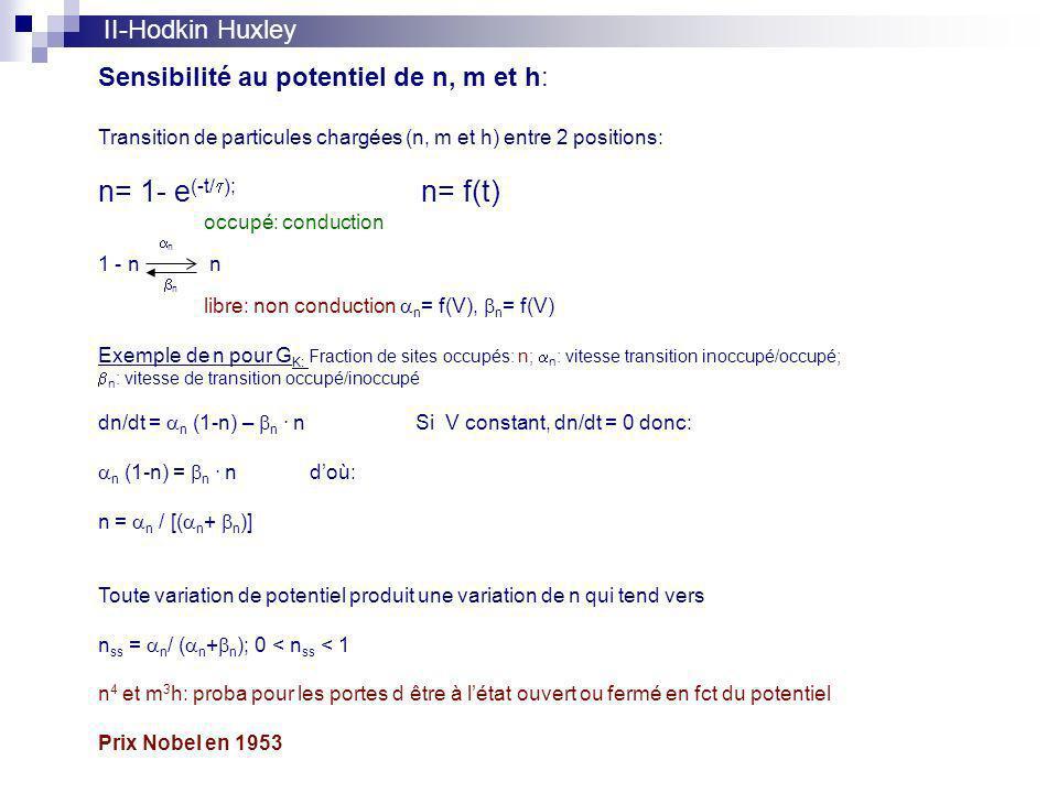 n= 1- e(-t/t); n= f(t) II-Hodkin Huxley