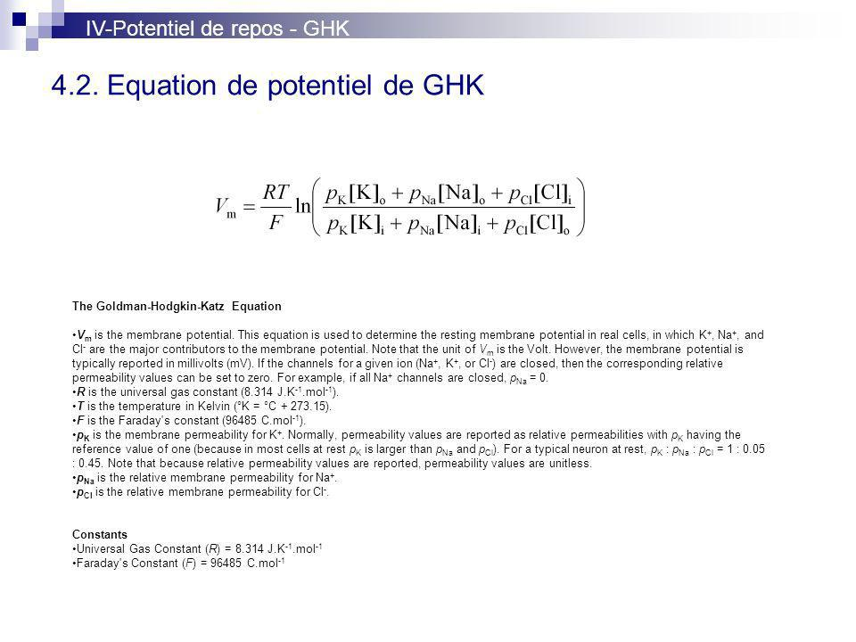 4.2. Equation de potentiel de GHK