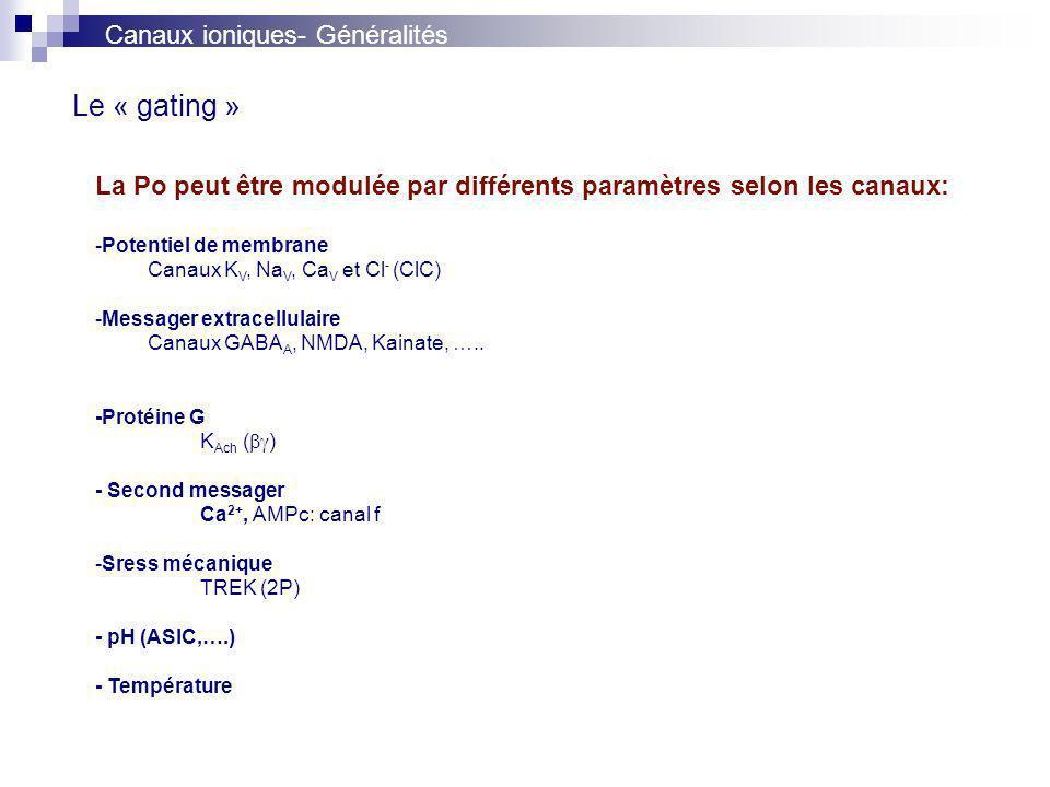 Le « gating » Canaux ioniques- Généralités
