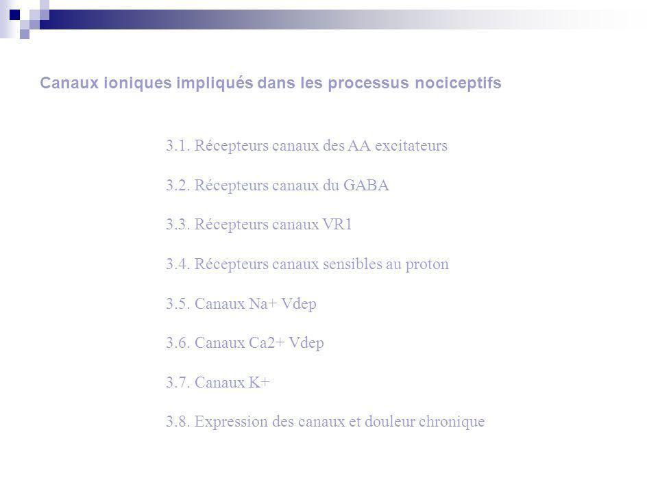 Canaux ioniques impliqués dans les processus nociceptifs