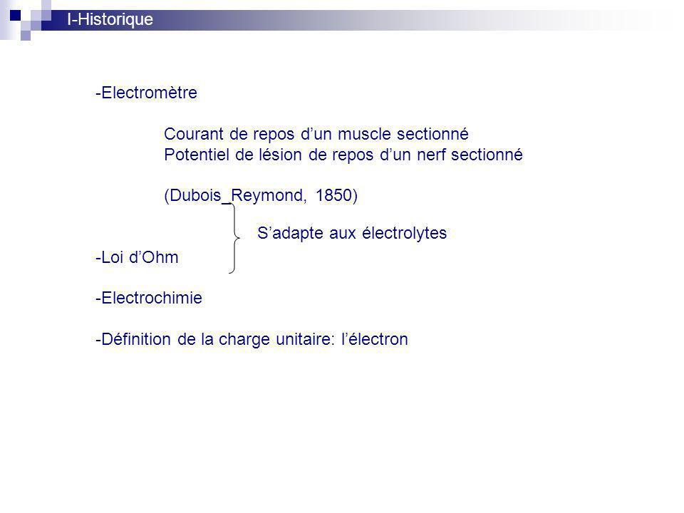 I-Historique Electromètre. Courant de repos d'un muscle sectionné. Potentiel de lésion de repos d'un nerf sectionné.