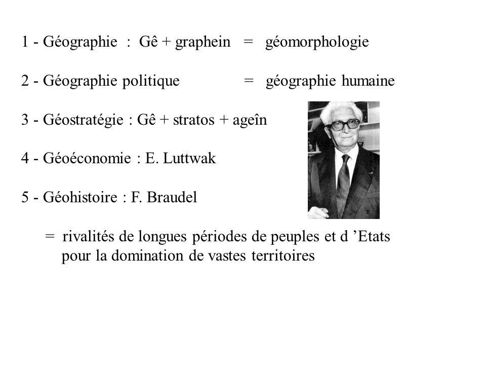 1 - Géographie : Gê + graphein = géomorphologie