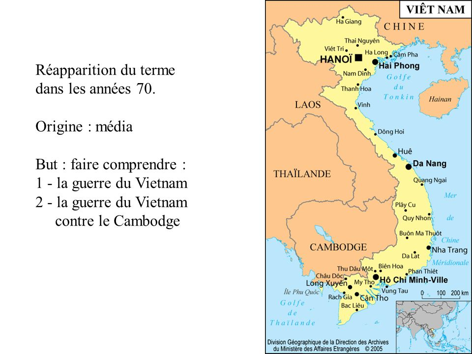 Réapparition du terme dans les années 70. Origine : média. But : faire comprendre : 1 - la guerre du Vietnam.