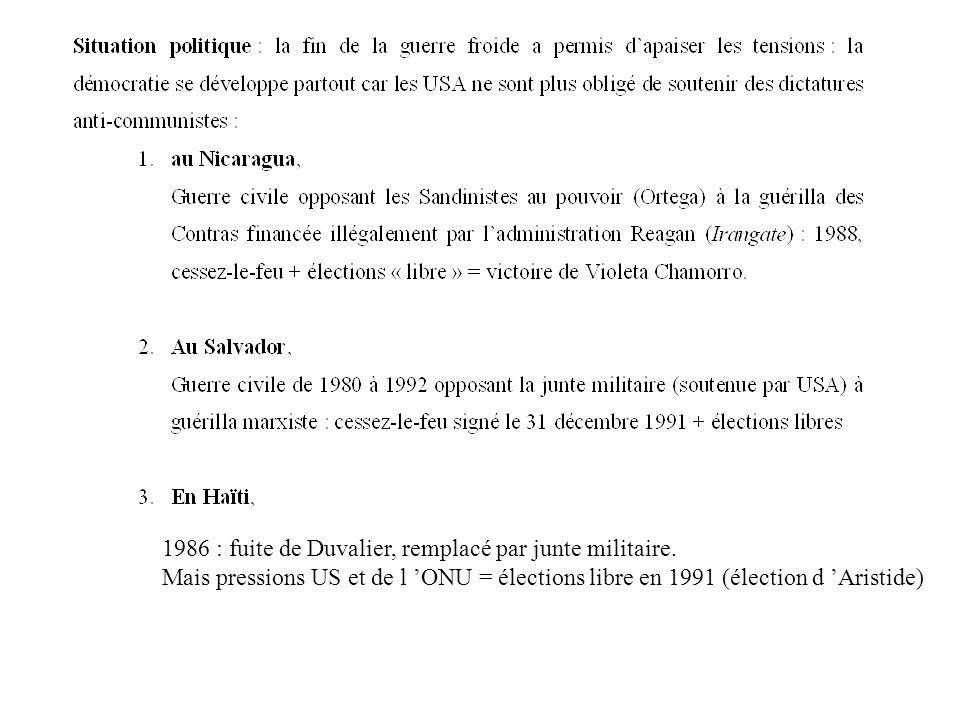 1986 : fuite de Duvalier, remplacé par junte militaire.