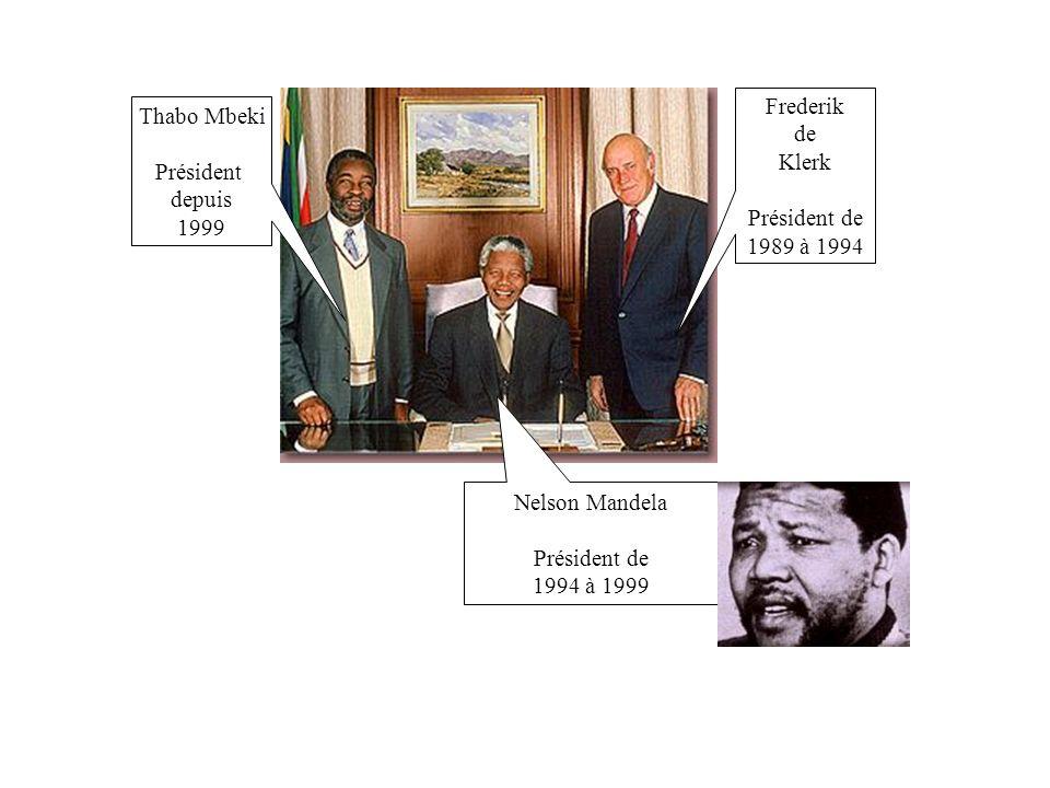 Frederik de. Klerk. Président de. 1989 à 1994. Thabo Mbeki. Président. depuis. 1999. Nelson Mandela.