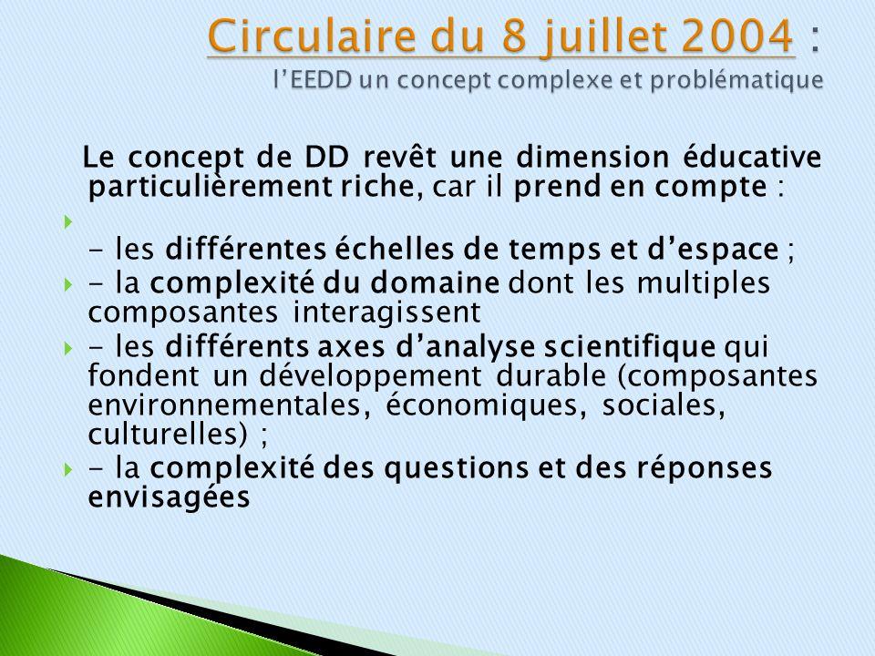 Circulaire du 8 juillet 2004 : l'EEDD un concept complexe et problématique