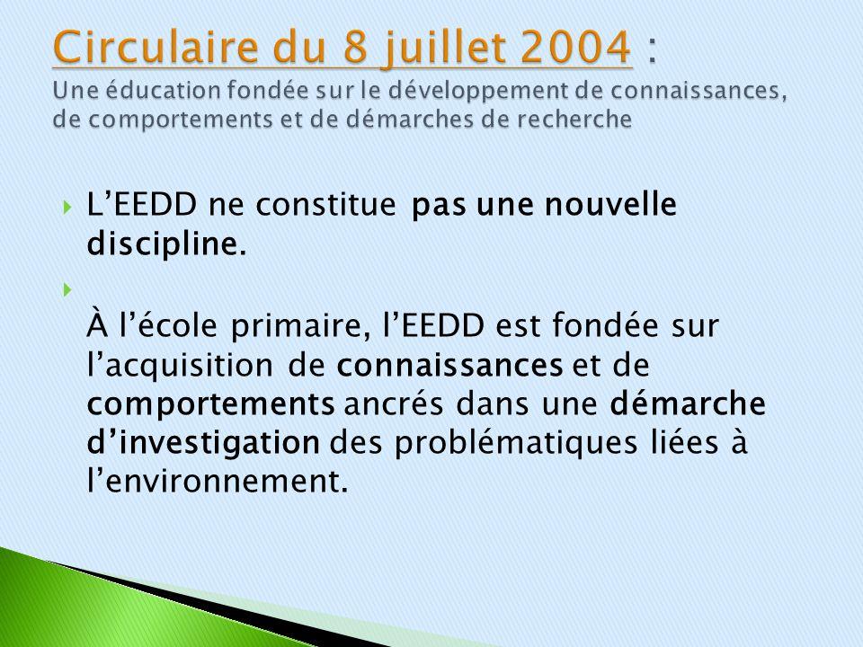 Circulaire du 8 juillet 2004 : Une éducation fondée sur le développement de connaissances, de comportements et de démarches de recherche