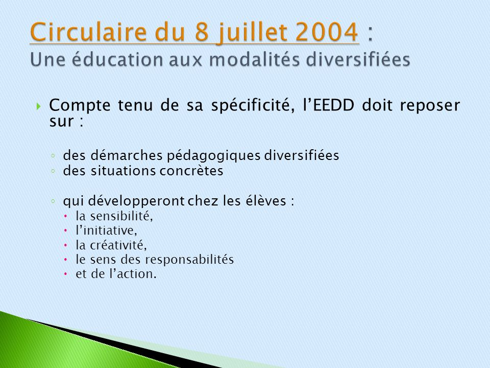 Circulaire du 8 juillet 2004 : Une éducation aux modalités diversifiées