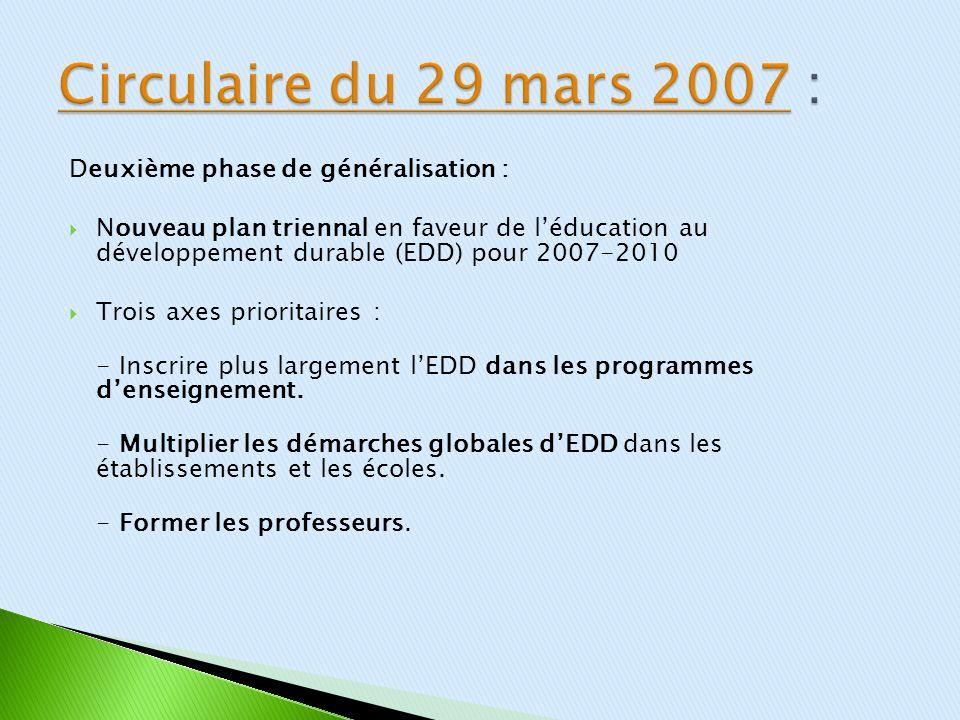 Circulaire du 29 mars 2007 : Deuxième phase de généralisation :