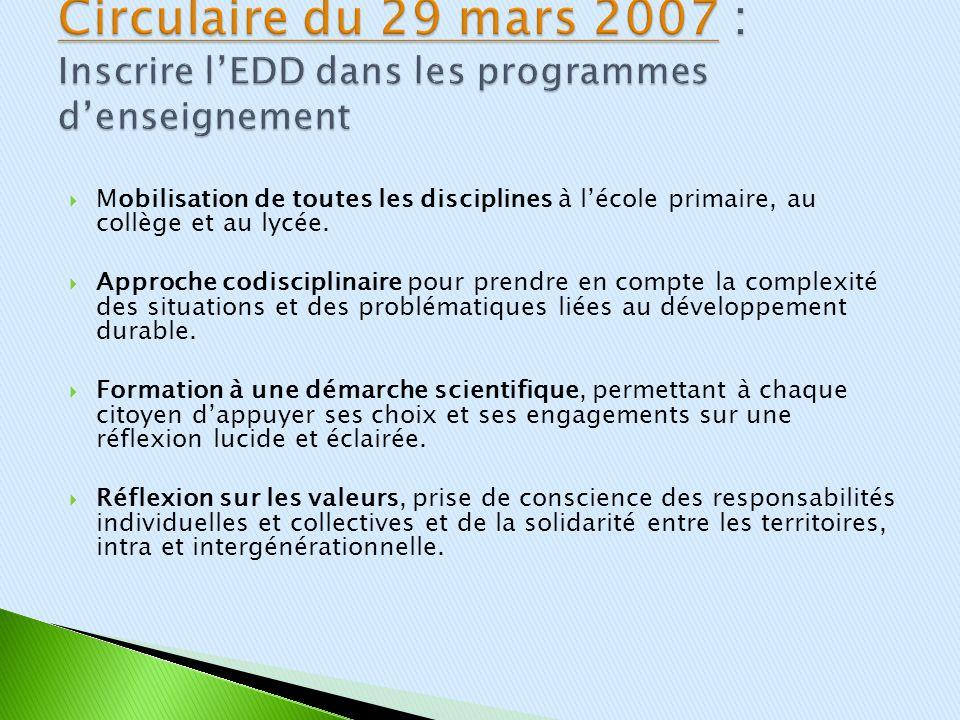 Circulaire du 29 mars 2007 : Inscrire l'EDD dans les programmes d'enseignement