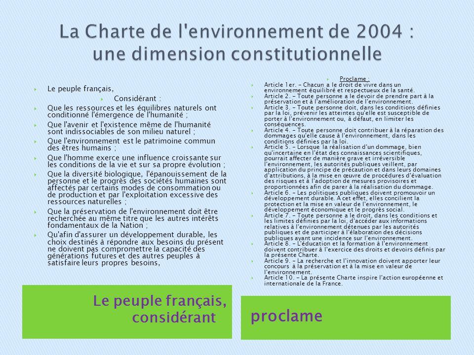 La Charte de l environnement de 2004 : une dimension constitutionnelle