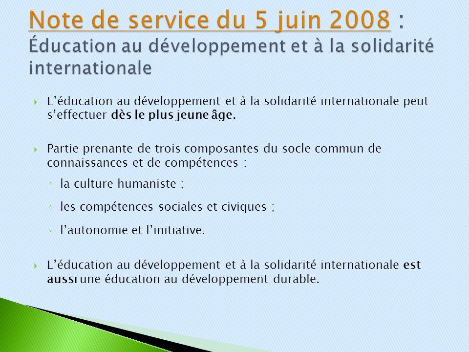 Note de service du 5 juin 2008 : Éducation au développement et à la solidarité internationale