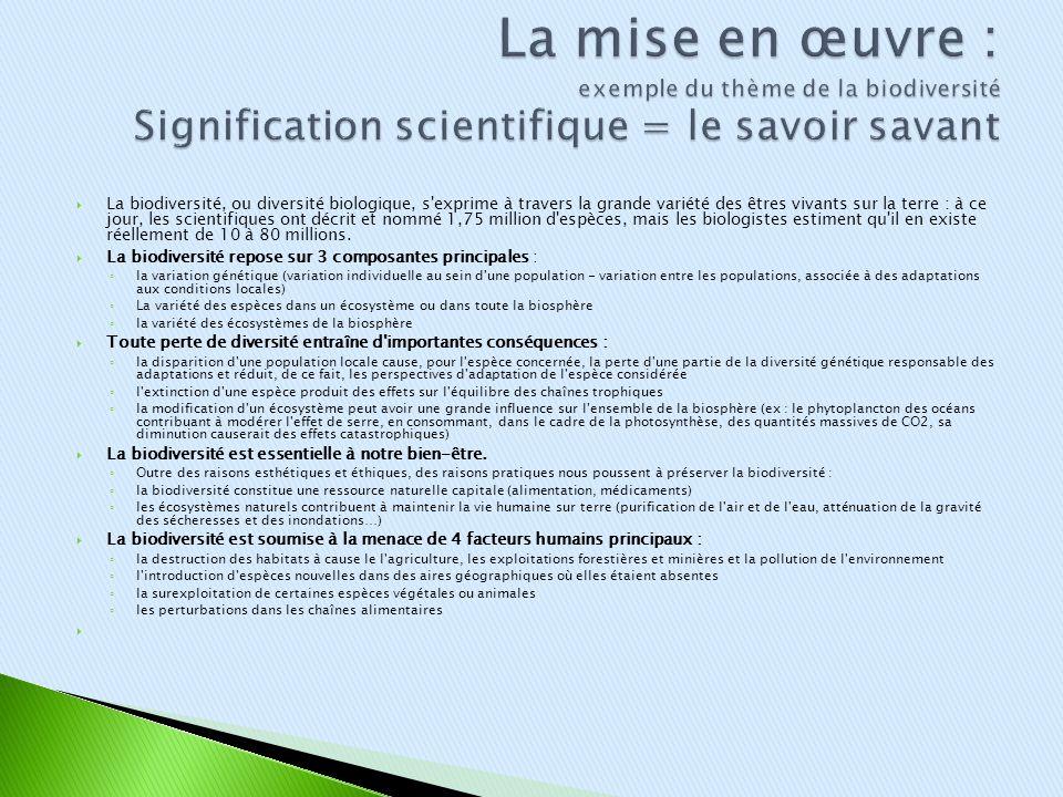 La mise en œuvre : exemple du thème de la biodiversité Signification scientifique = le savoir savant